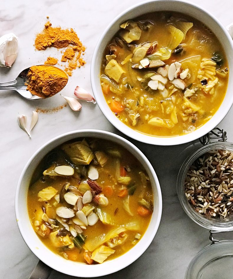 rotisserie chicken and wild rice soup with turmeric and garlic
