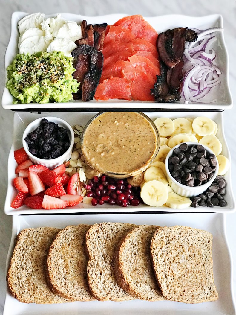 make your own toast bar with sweet ingredients and savory ingredients