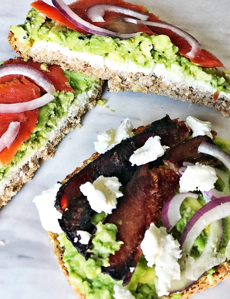 toast with lox, avocado, goat cheese, bacon and onion