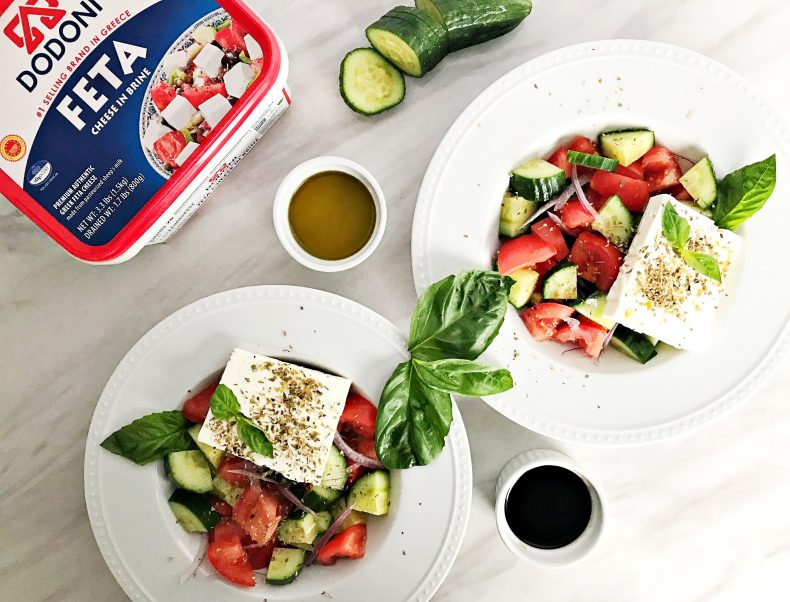 two greek salad with cucumber on the side and Dodoni blocked feta