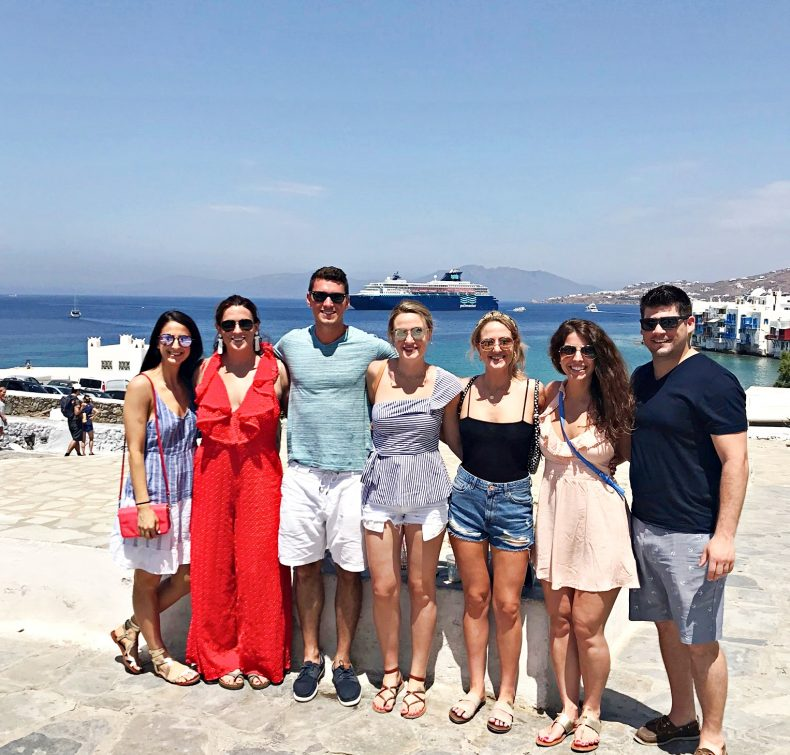 friends visiting mykonos town, mykonos greece