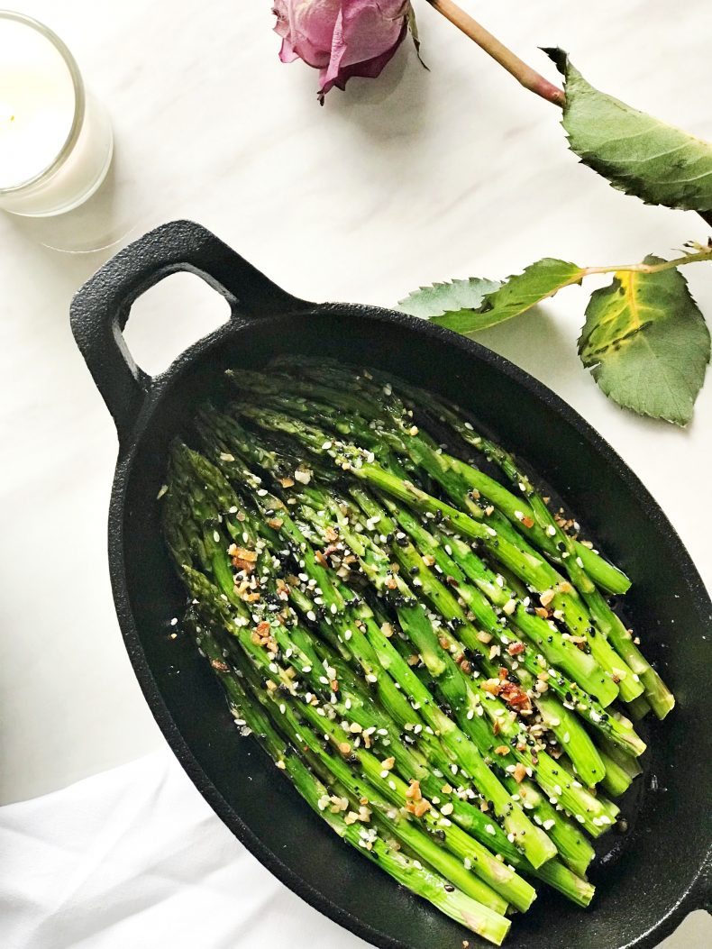 baked asparagus with seasoning for valentines day dinner