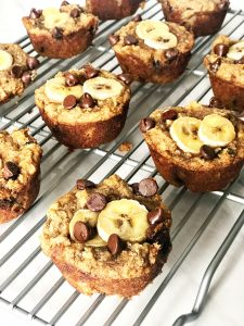 chocolate chip banana bread muffins on a cooling wrack