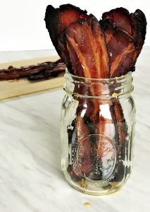 maple bacon in a mason jar